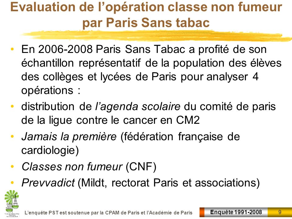 9 9Enquête 1991-2008 Lenquête PST est soutenue par la CPAM de Paris et lAcadémie de Paris Evaluation de lopération classe non fumeur par Paris Sans ta