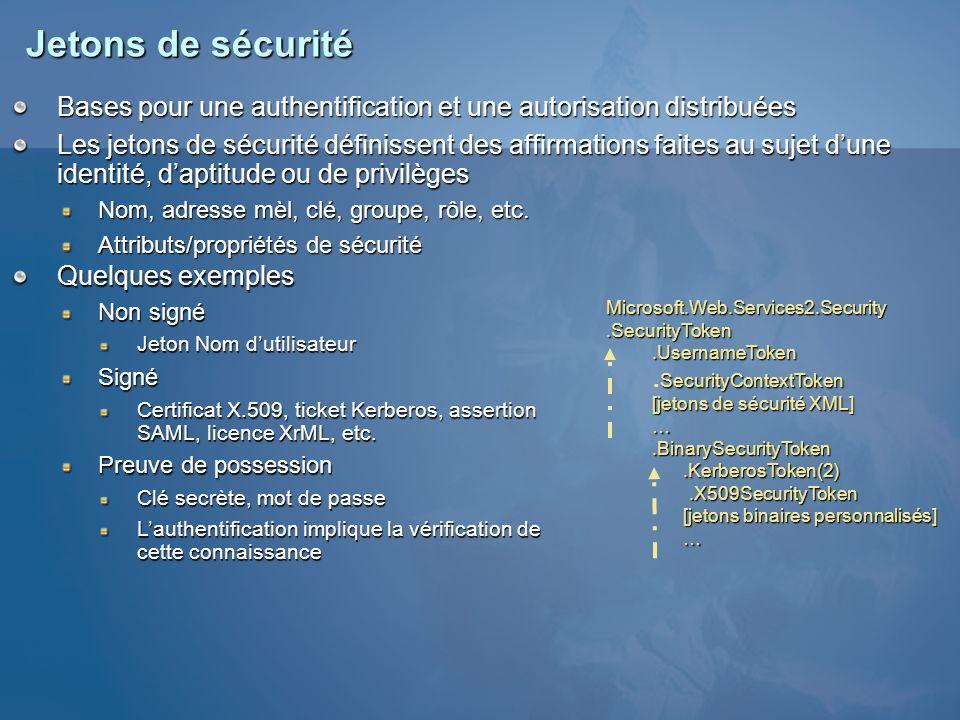 Jetons de sécurité Bases pour une authentification et une autorisation distribuées Les jetons de sécurité définissent des affirmations faites au sujet