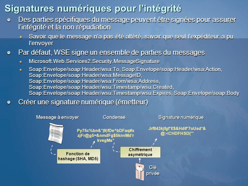 Signatures numériques pour lintégrité Des parties spécifiques du message peuvent être signées pour assurer lintégrité et la non répudiation Savoir que