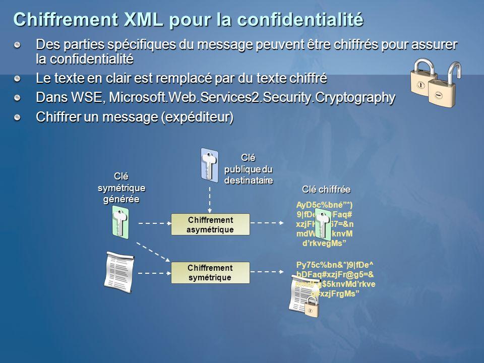 Chiffrement XML pour la confidentialité Des parties spécifiques du message peuvent être chiffrés pour assurer la confidentialité Le texte en clair est