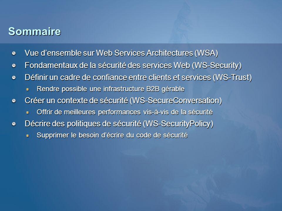 Sommaire Vue densemble sur Web Services Architectures (WSA) Fondamentaux de la sécurité des services Web (WS-Security) Définir un cadre de confiance e