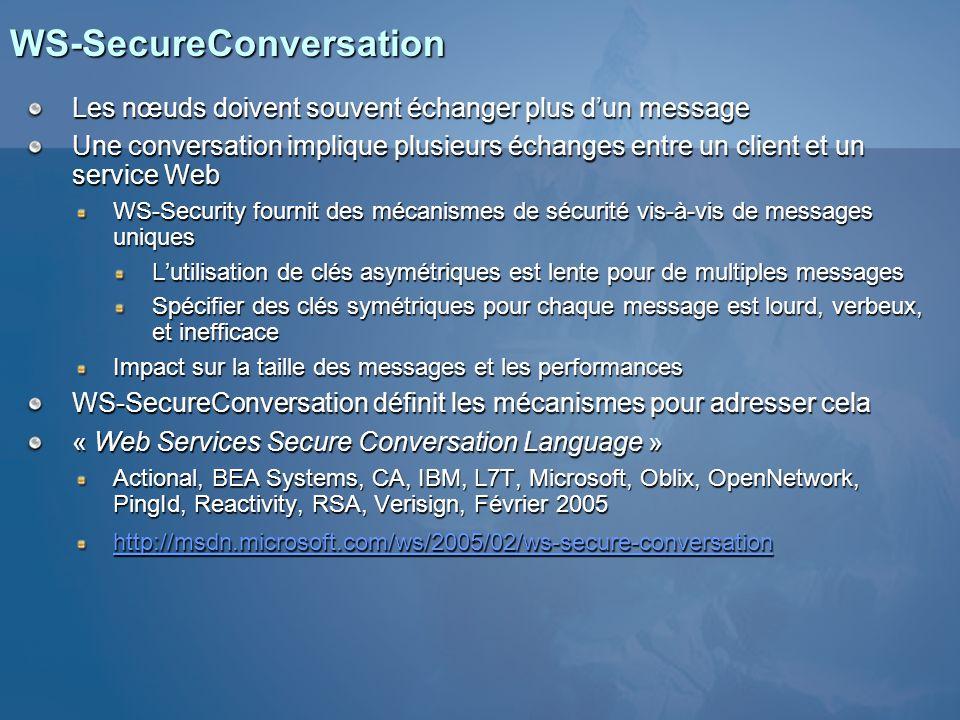 WS-SecureConversation Les nœuds doivent souvent échanger plus dun message Une conversation implique plusieurs échanges entre un client et un service W