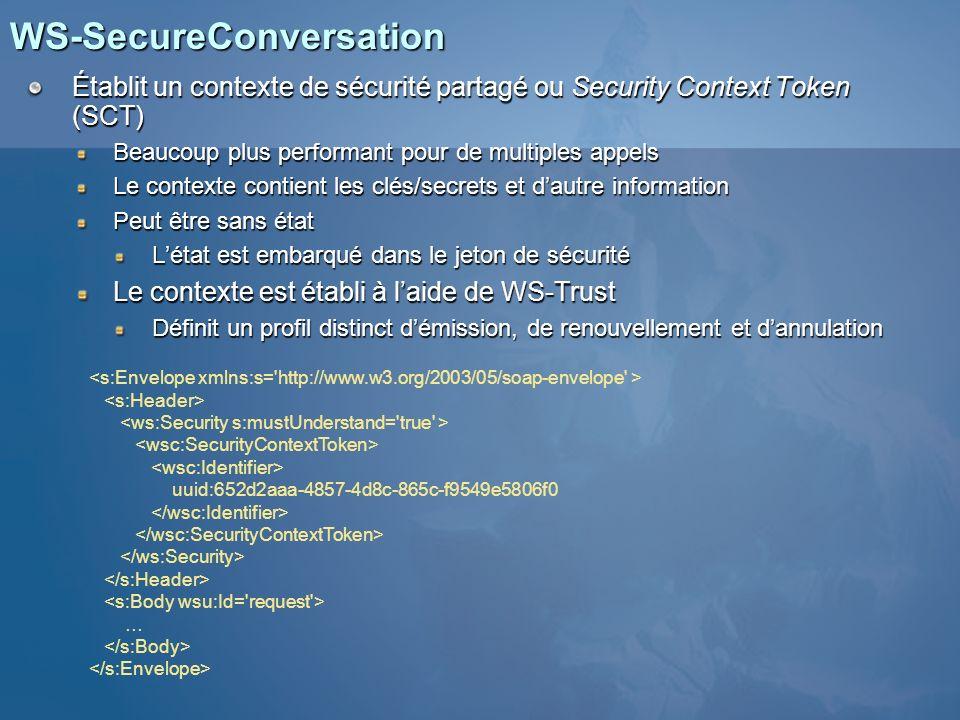 WS-SecureConversation Établit un contexte de sécurité partagé ou Security Context Token (SCT) Beaucoup plus performant pour de multiples appels Le con