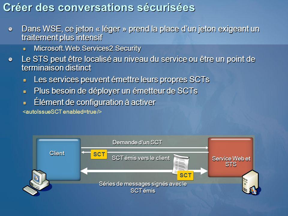 Créer des conversations sécurisées Dans WSE, ce jeton « léger » prend la place dun jeton exigeant un traitement plus intensif Microsoft.Web.Services2.