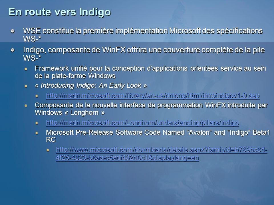 En route vers Indigo WSE constitue la première implémentation Microsoft des spécifications WS-* Indigo, composante de WinFX offrira une couverture com