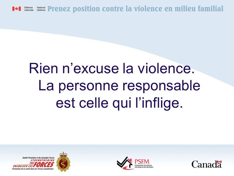 Rien nexcuse la violence. La personne responsable est celle qui linflige.