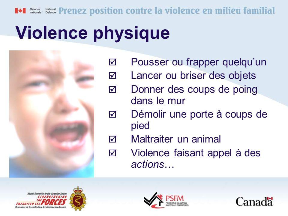 Violence physique Pousser ou frapper quelquun Lancer ou briser des objets Donner des coups de poing dans le mur Démolir une porte à coups de pied Malt