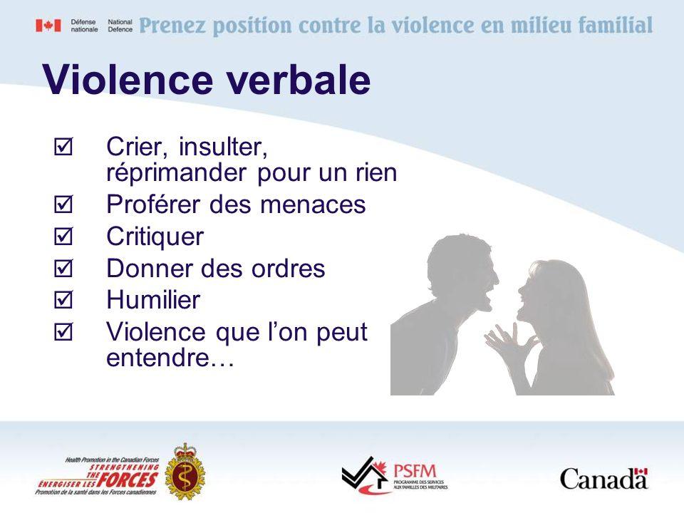 Violence verbale Crier, insulter, réprimander pour un rien Proférer des menaces Critiquer Donner des ordres Humilier Violence que lon peut entendre…
