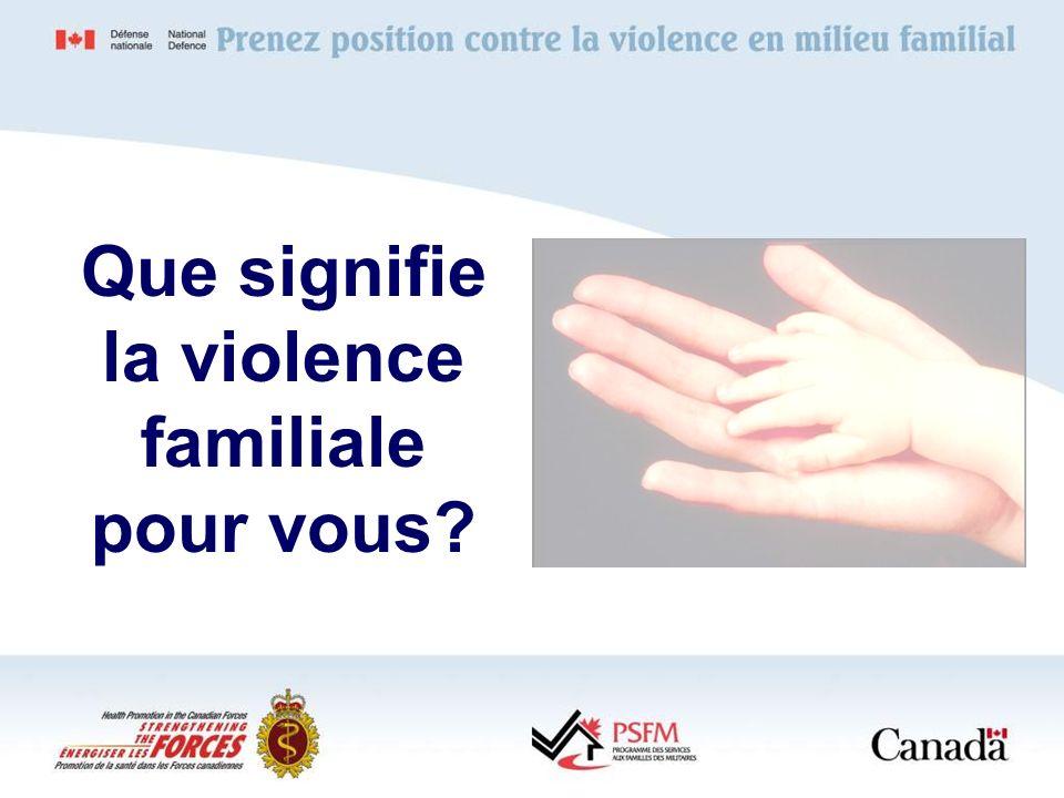 Que signifie la violence familiale pour vous?
