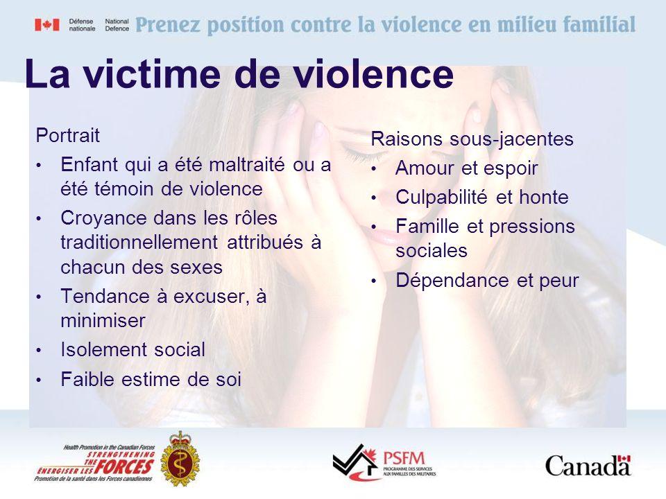 La victime de violence Portrait Enfant qui a été maltraité ou a été témoin de violence Croyance dans les rôles traditionnellement attribués à chacun d