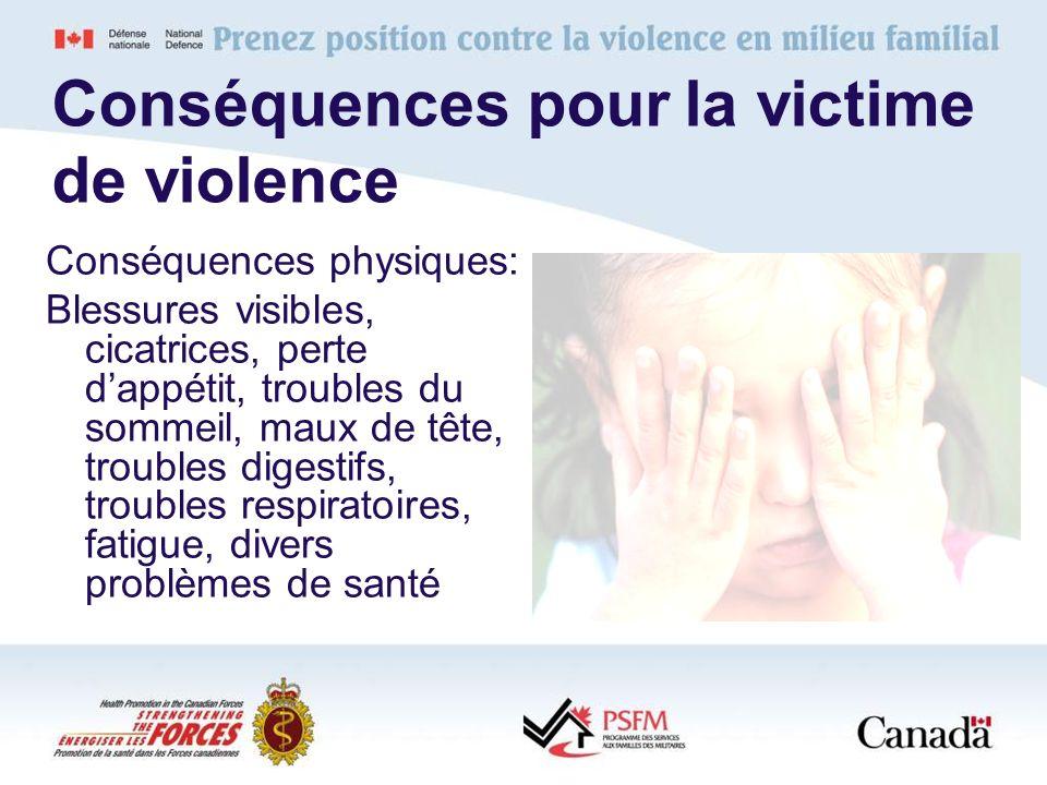 Conséquences pour la victime de violence Conséquences physiques: Blessures visibles, cicatrices, perte dappétit, troubles du sommeil, maux de tête, tr
