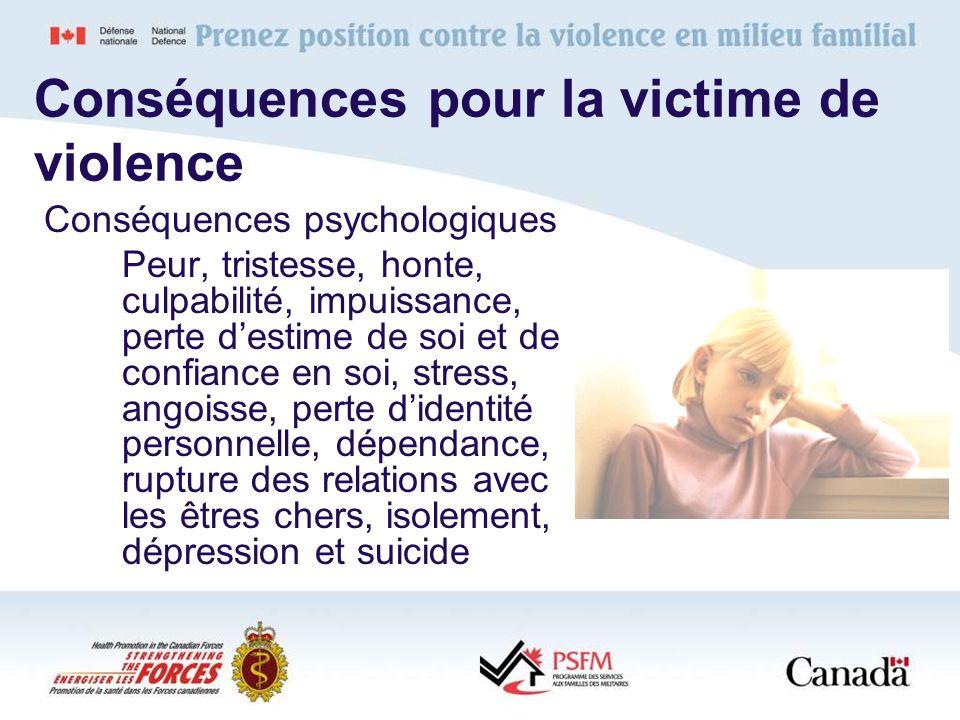 Conséquences pour la victime de violence Conséquences psychologiques Peur, tristesse, honte, culpabilité, impuissance, perte destime de soi et de conf