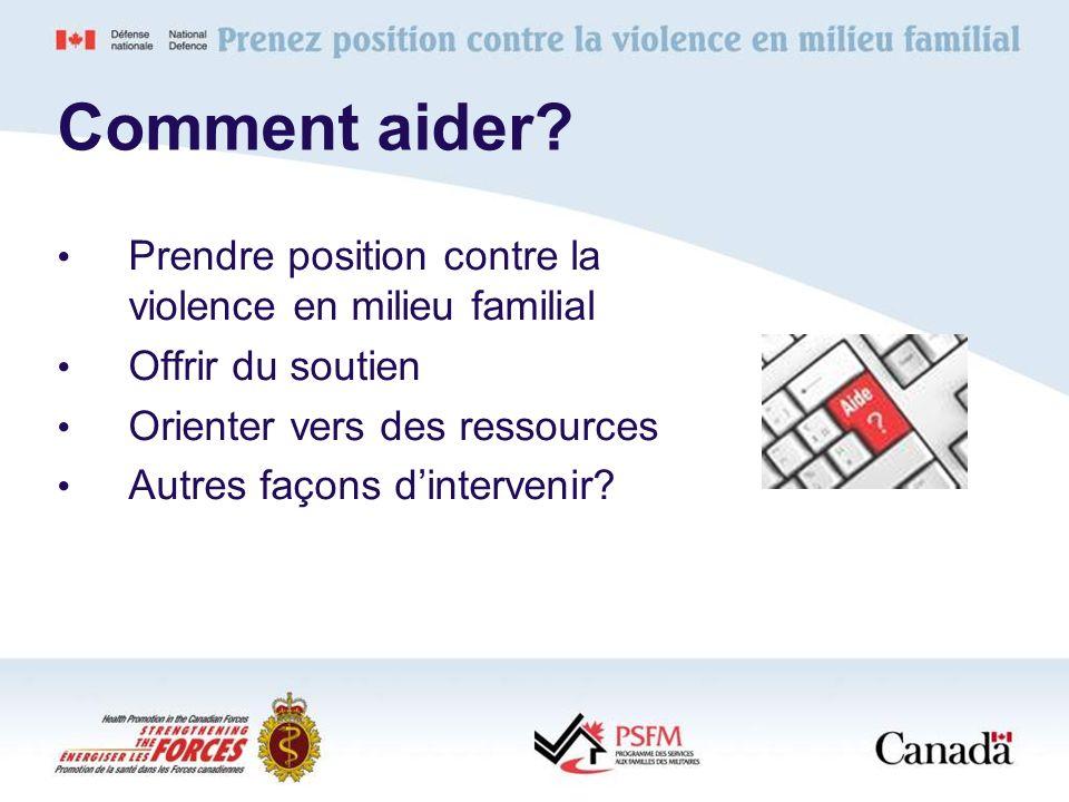 Prendre position contre la violence en milieu familial Offrir du soutien Orienter vers des ressources Autres façons dintervenir? Comment aider?