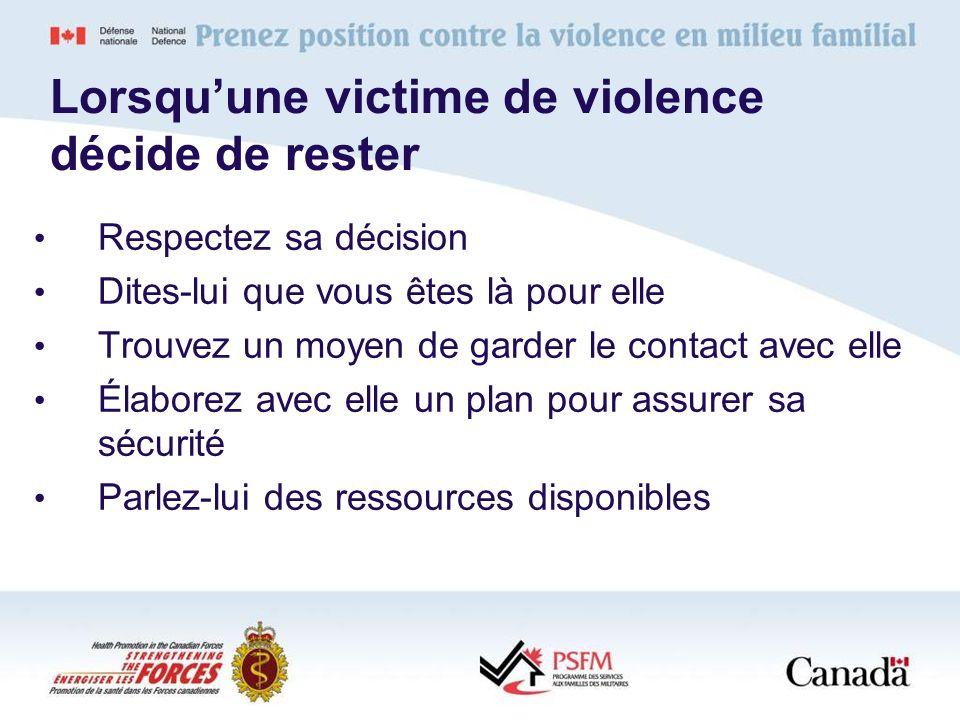 Lorsquune victime de violence décide de rester Respectez sa décision Dites-lui que vous êtes là pour elle Trouvez un moyen de garder le contact avec e