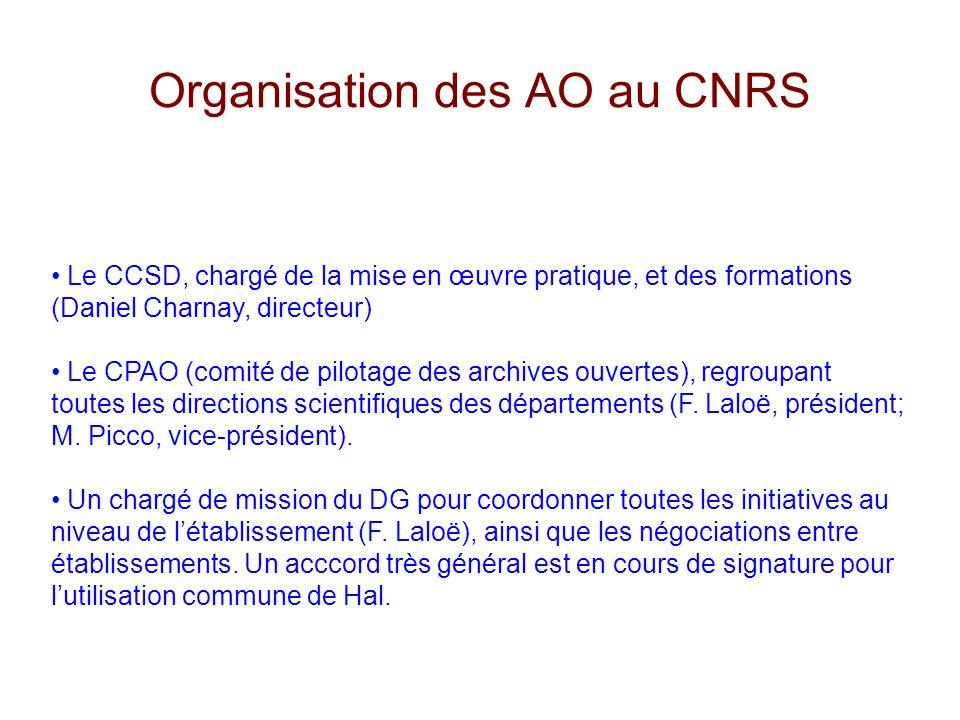 Organisation des AO au CNRS Le CCSD, chargé de la mise en œuvre pratique, et des formations (Daniel Charnay, directeur) Le CPAO (comité de pilotage des archives ouvertes), regroupant toutes les directions scientifiques des départements (F.