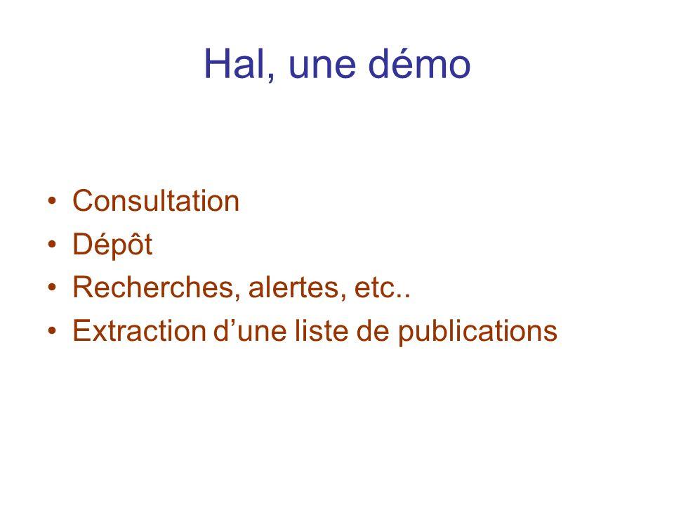 Hal, une démo Consultation Dépôt Recherches, alertes, etc.. Extraction dune liste de publications