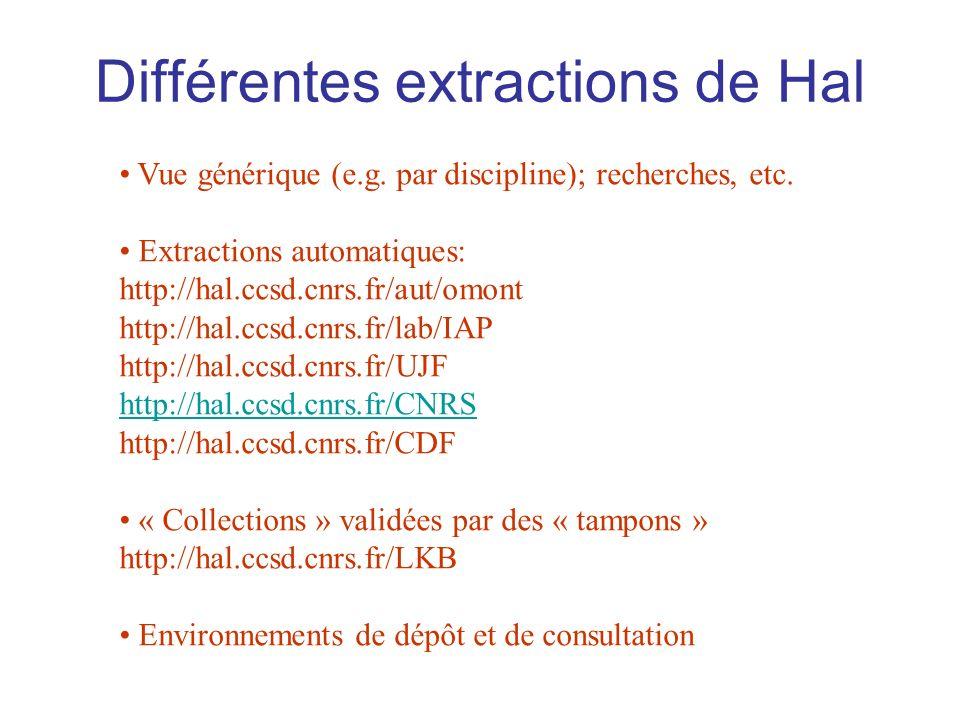 Différentes extractions de Hal Vue générique (e.g.