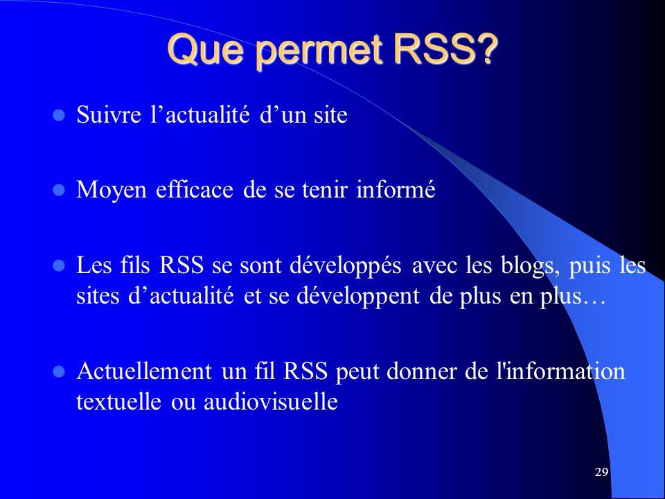 Que permet RSS.