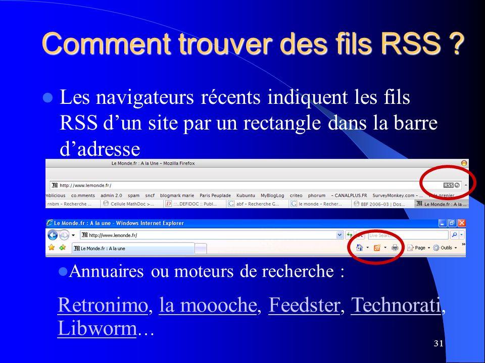 Comment trouver des fils RSS .