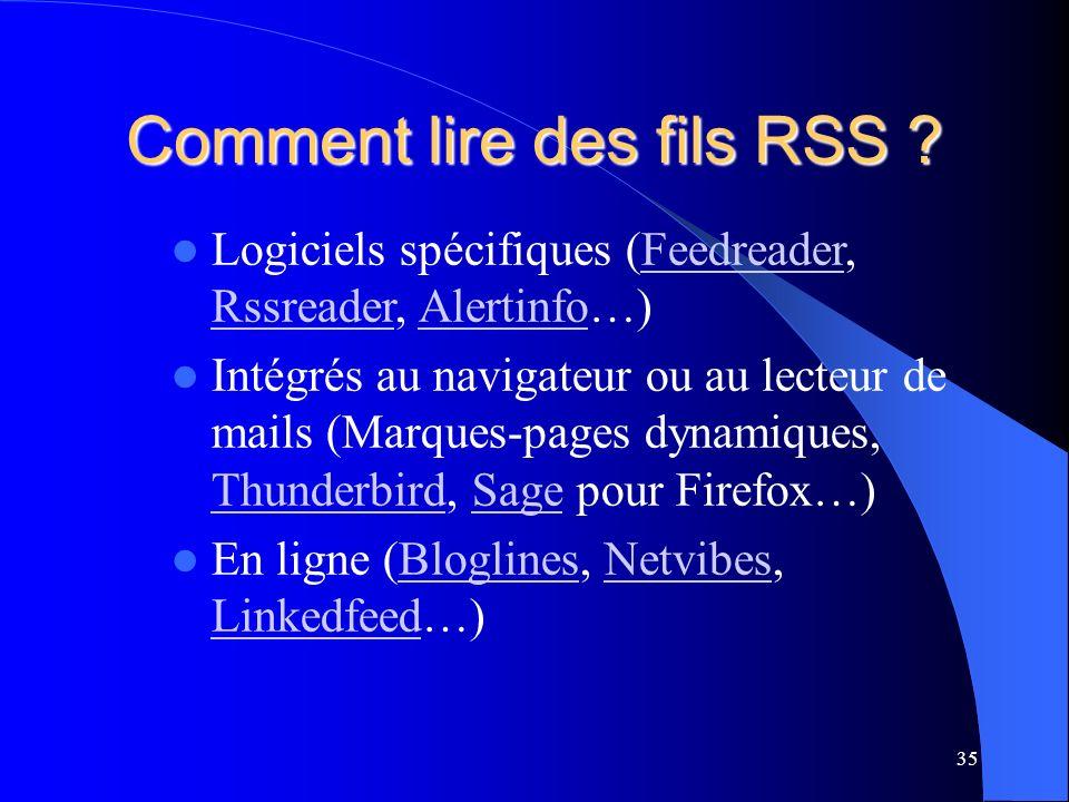 Comment lire des fils RSS .