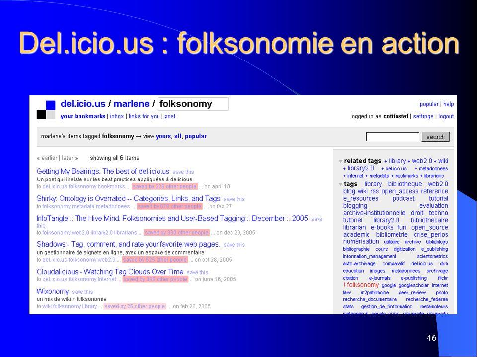 Del.icio.us : folksonomie en action 46