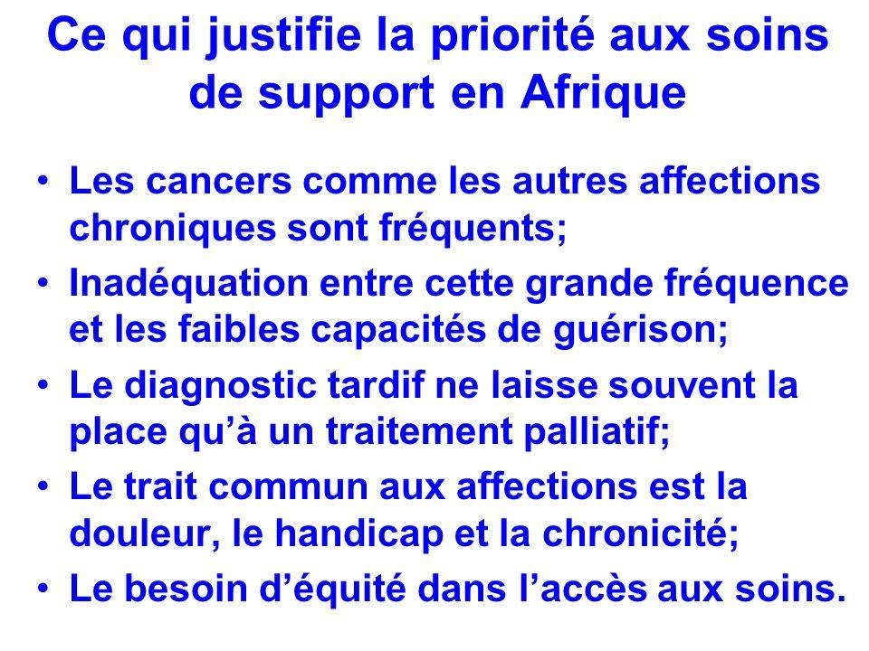 Ce qui justifie la priorité aux soins de support en Afrique Les cancers comme les autres affections chroniques sont fréquents; Inadéquation entre cett
