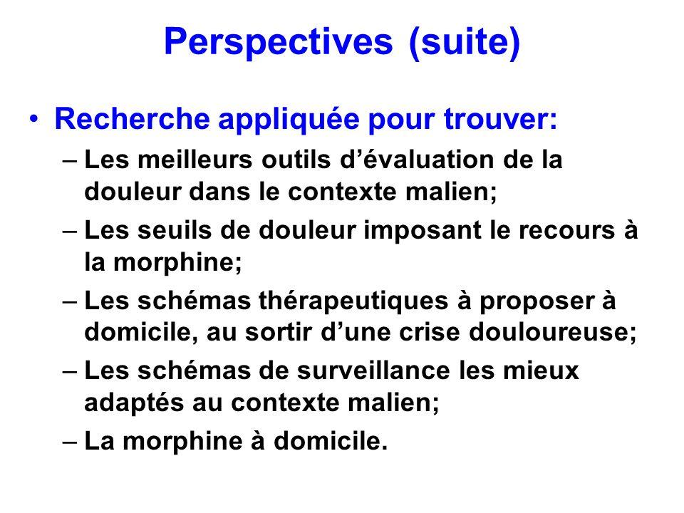 Perspectives (suite) Recherche appliquée pour trouver: –Les meilleurs outils dévaluation de la douleur dans le contexte malien; –Les seuils de douleur