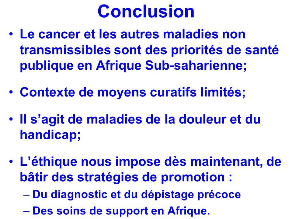 Conclusion Le cancer et les autres maladies non transmissibles sont des priorités de santé publique en Afrique Sub-saharienne; Contexte de moyens cura