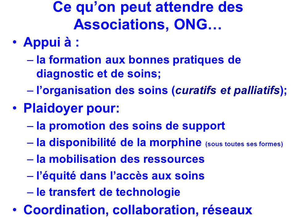 Ce quon peut attendre des Associations, ONG… Appui à : –la formation aux bonnes pratiques de diagnostic et de soins; –lorganisation des soins (curatif