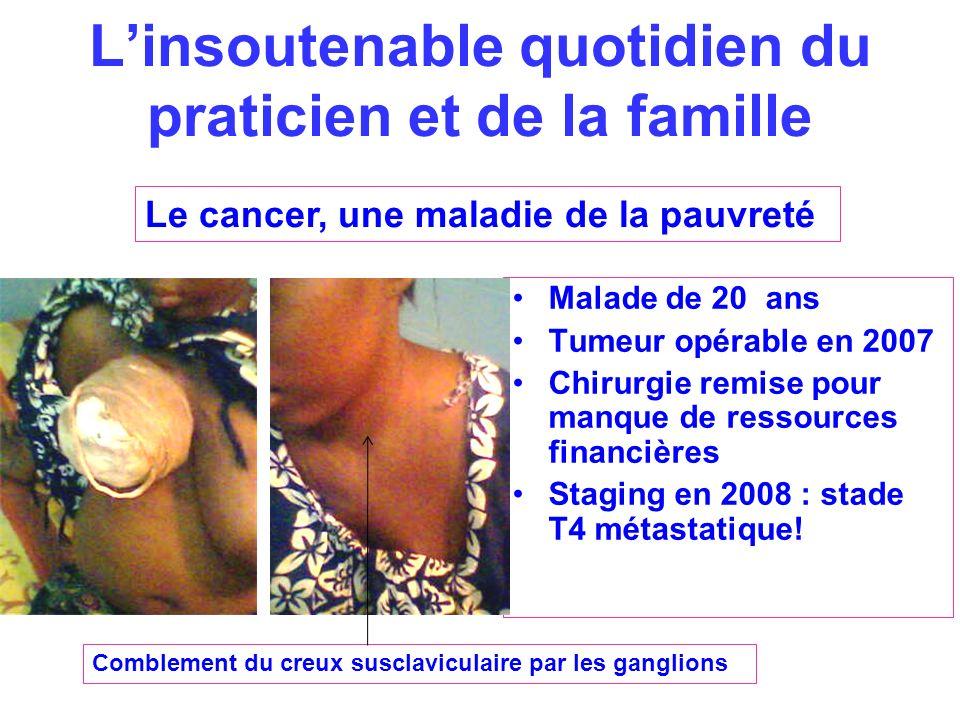 Linsoutenable quotidien du praticien et de la famille Malade de 20 ans Tumeur opérable en 2007 Chirurgie remise pour manque de ressources financières