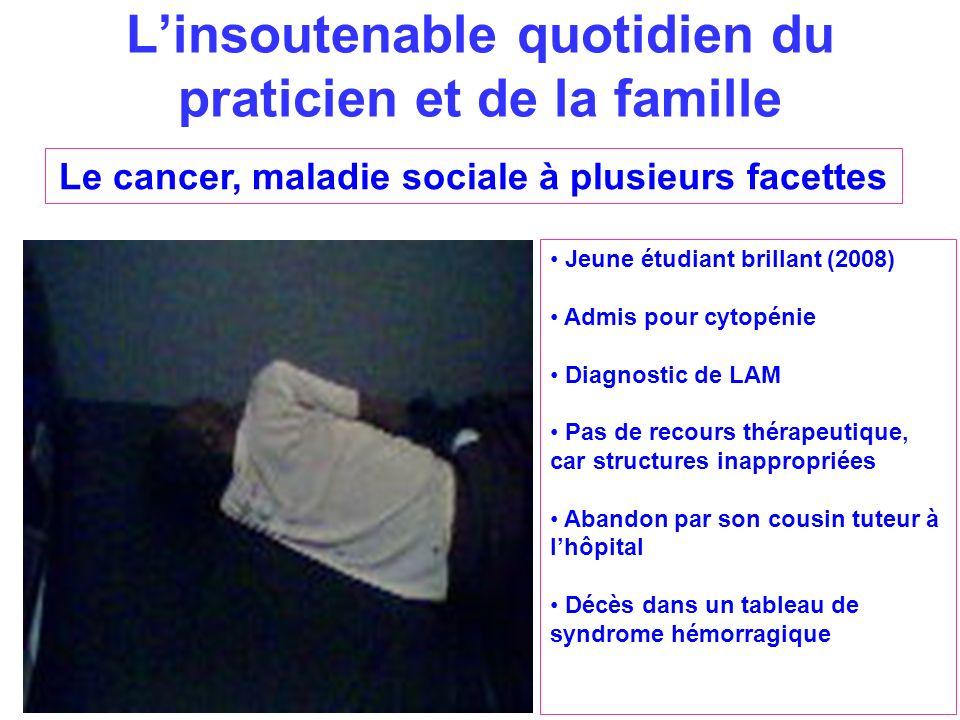 Linsoutenable quotidien du praticien et de la famille Le cancer, maladie sociale à plusieurs facettes Jeune étudiant brillant (2008) Admis pour cytopé