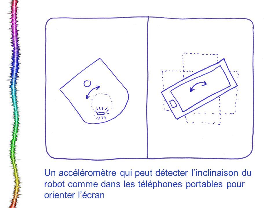 Un accéléromètre qui peut détecter linclinaison du robot comme dans les téléphones portables pour orienter lécran