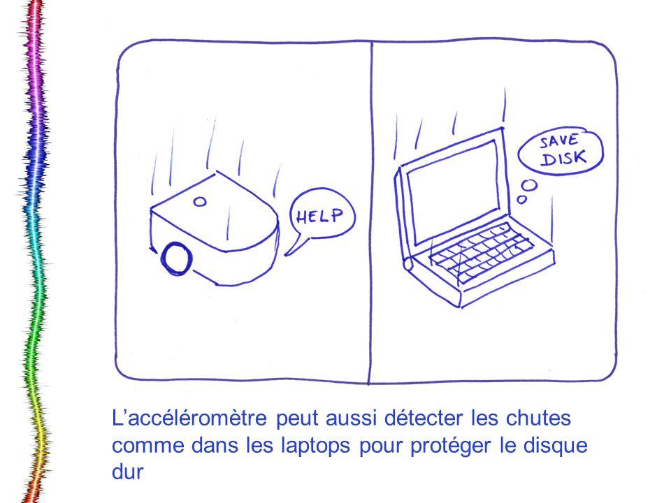 Laccéléromètre peut aussi détecter les chutes comme dans les laptops pour protéger le disque dur