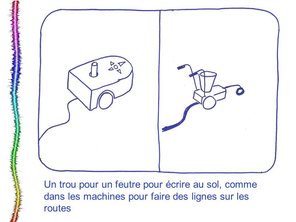 Un trou pour un feutre pour écrire au sol, comme dans les machines pour faire des lignes sur les routes