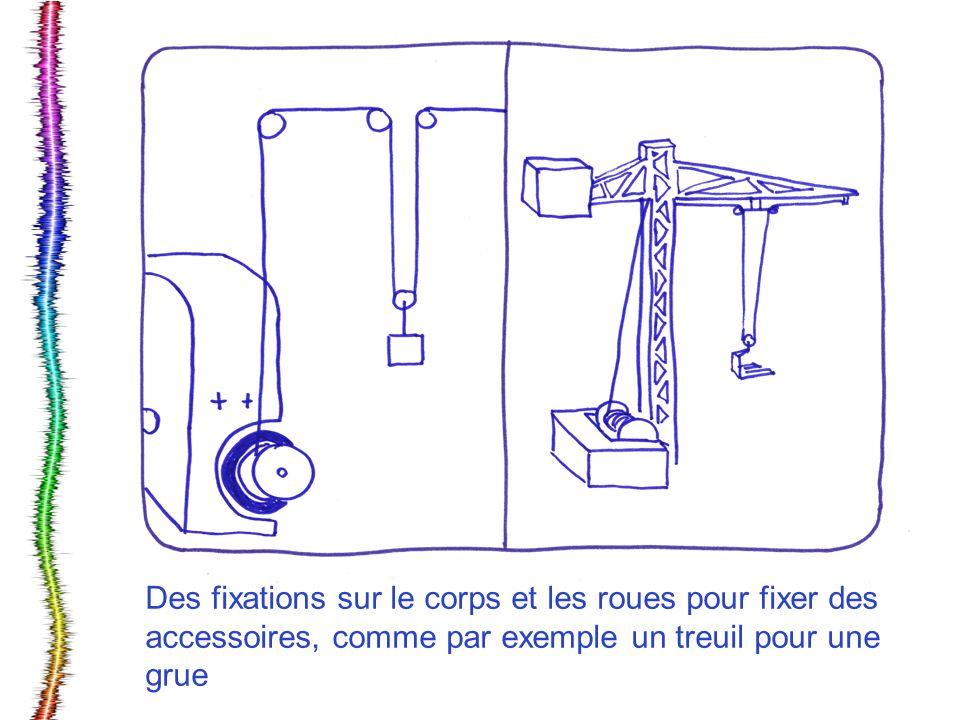 Des fixations sur le corps et les roues pour fixer des accessoires, comme par exemple un treuil pour une grue