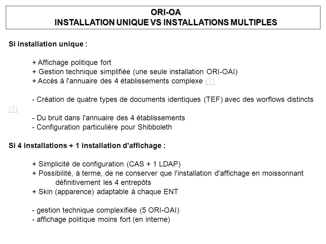 Si installation unique : + Affichage politique fort + Gestion technique simplifiée (une seule installation ORI-OAI) + Accès à l'annuaire des 4 établis