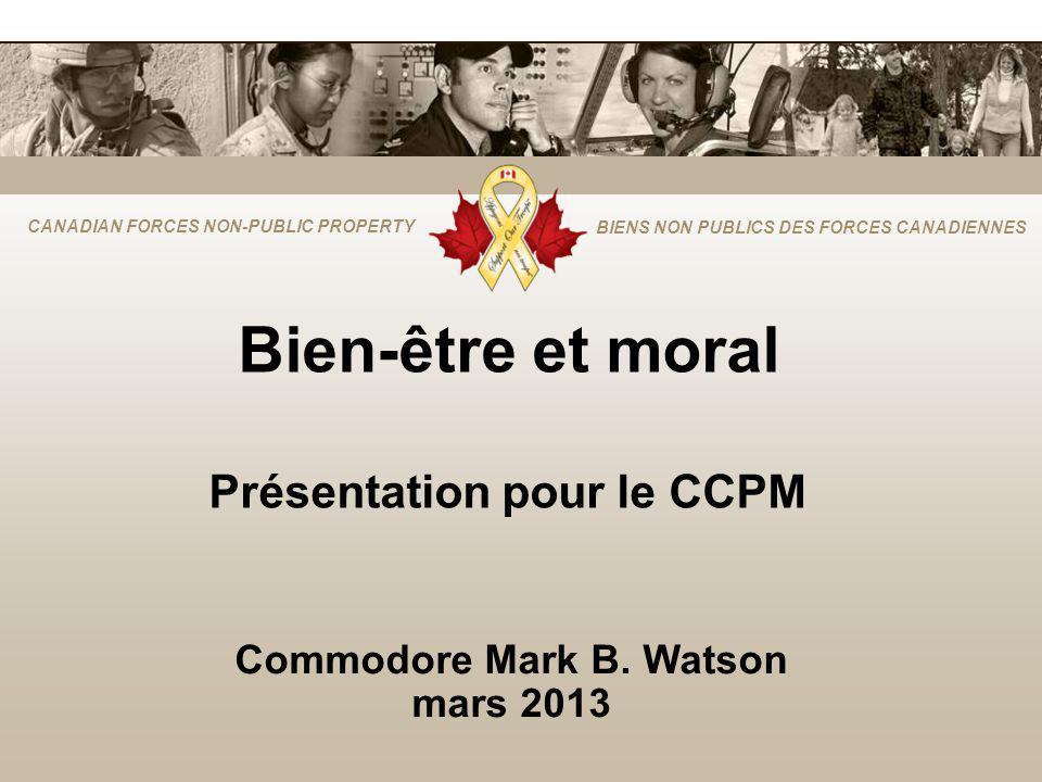 CANADIAN FORCES NON-PUBLIC PROPERTY BIENS NON PUBLICS DES FORCES CANADIENNES Bien-être et moral Présentation pour le CCPM Commodore Mark B.