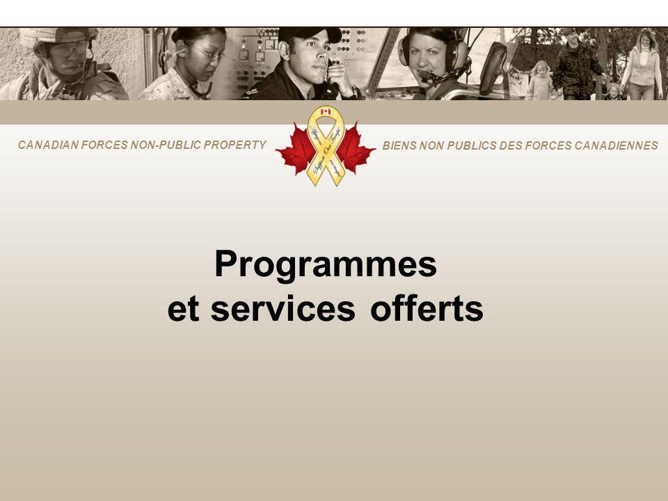 CANADIAN FORCES NON-PUBLIC PROPERTY BIENS NON PUBLICS DES FORCES CANADIENNES Programmes et services offerts