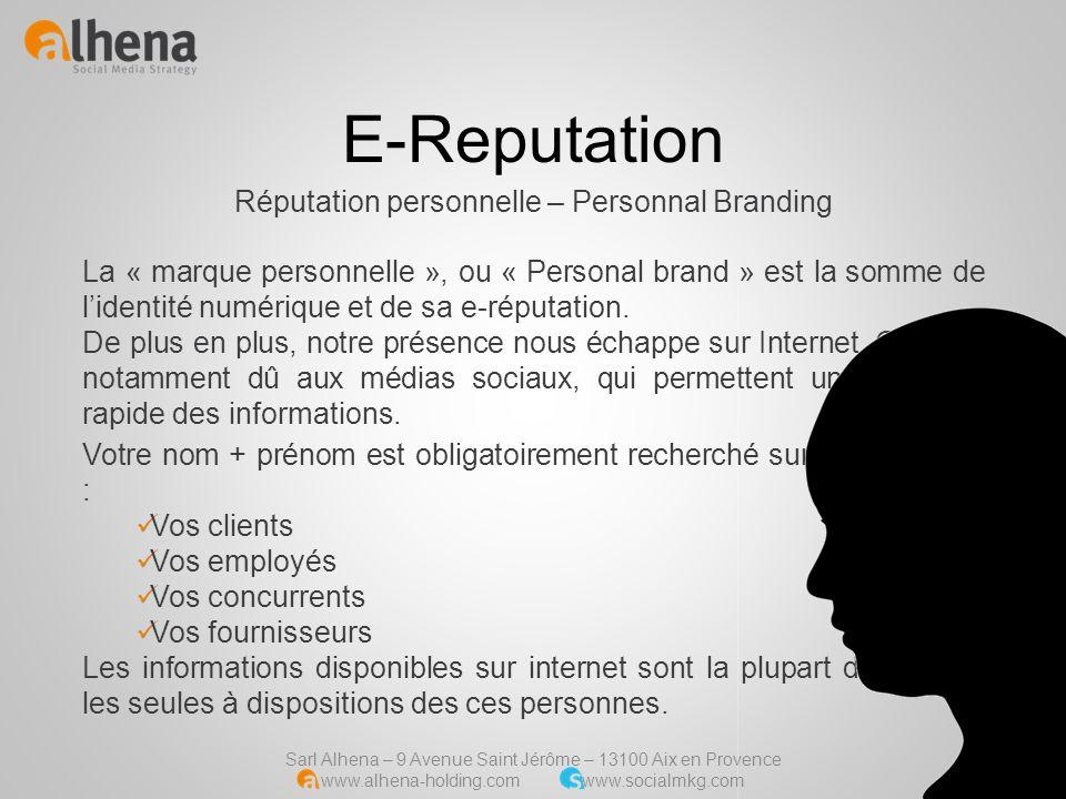 Sarl Alhena – 9 Avenue Saint Jérôme – 13100 Aix en Provence www.alhena-holding.com www.socialmkg.com La « marque personnelle », ou « Personal brand »