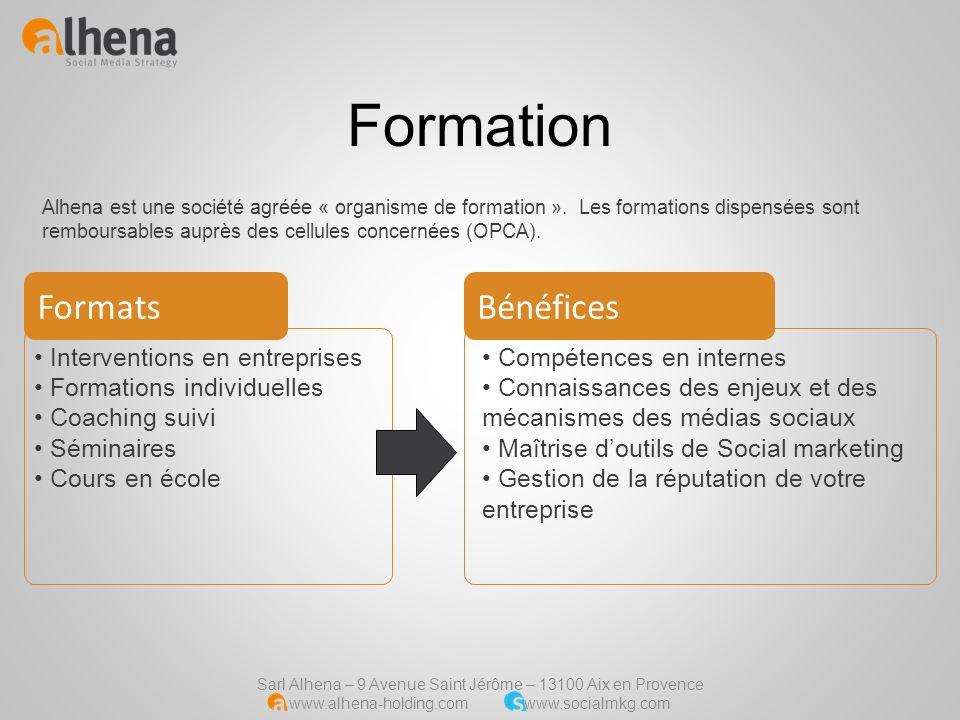 Sarl Alhena – 9 Avenue Saint Jérôme – 13100 Aix en Provence www.alhena-holding.com www.socialmkg.com Formation Interventions en entreprises Formations