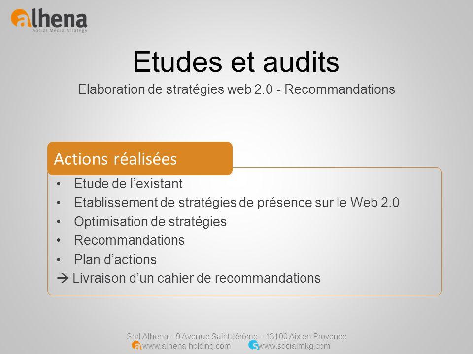 Sarl Alhena – 9 Avenue Saint Jérôme – 13100 Aix en Provence www.alhena-holding.com www.socialmkg.com Etudes et audits Elaboration de stratégies web 2.