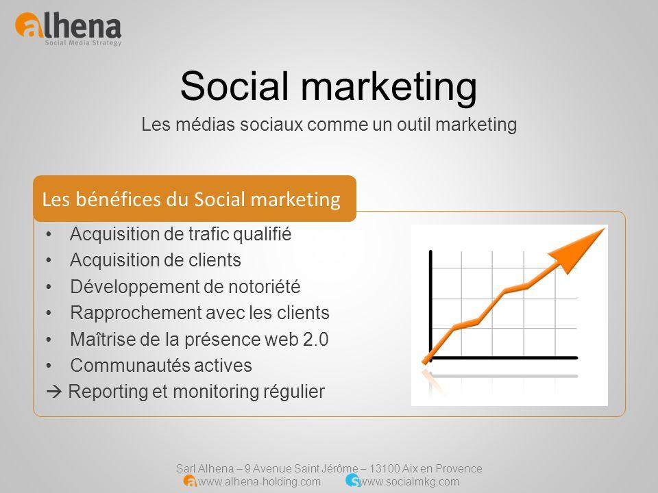 Sarl Alhena – 9 Avenue Saint Jérôme – 13100 Aix en Provence www.alhena-holding.com www.socialmkg.com Social marketing Les médias sociaux comme un outi