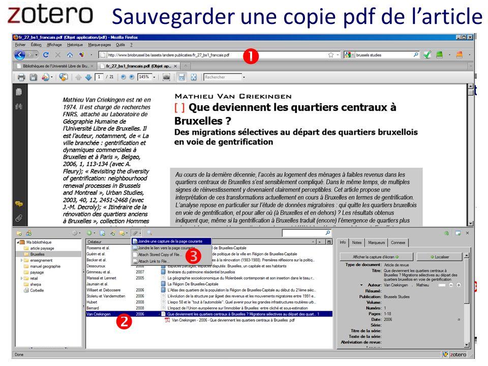 Sauvegarder une copie pdf de larticle