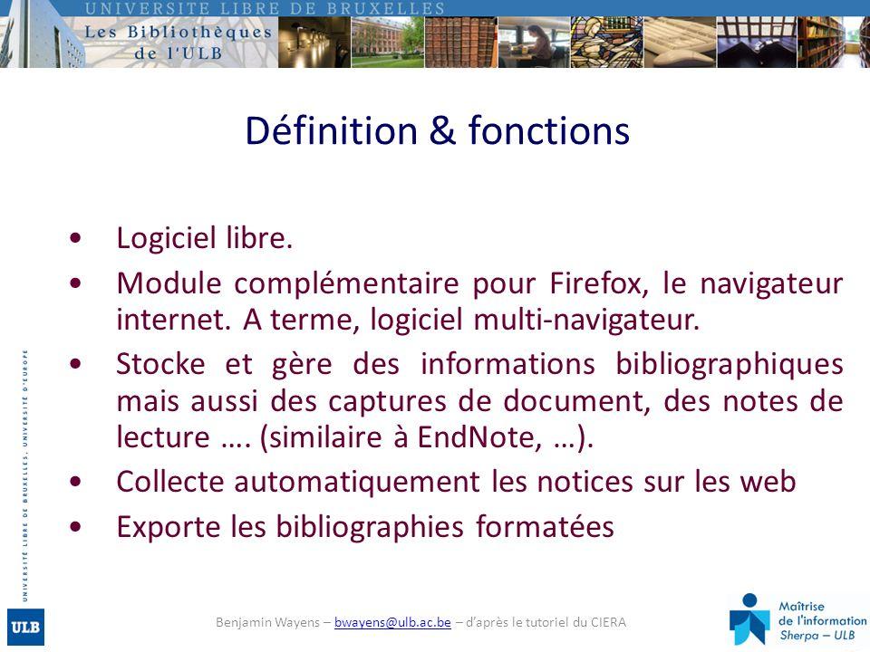 Définition & fonctions Logiciel libre. Module complémentaire pour Firefox, le navigateur internet. A terme, logiciel multi-navigateur. Stocke et gère