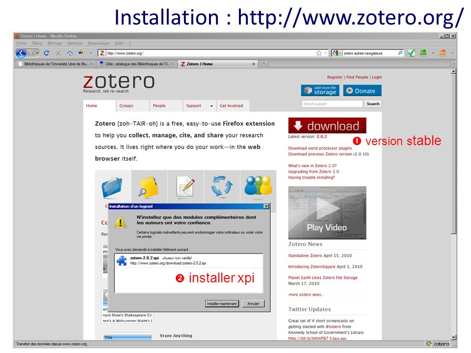 Installation : http://www.zotero.org/ version s table installer xpi