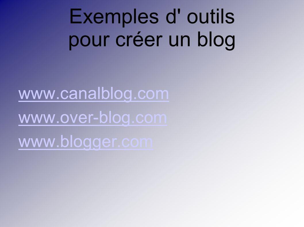 Exemples d outils pour créer un blog www.canalblog.com www.over-blog.com www.blogger.com