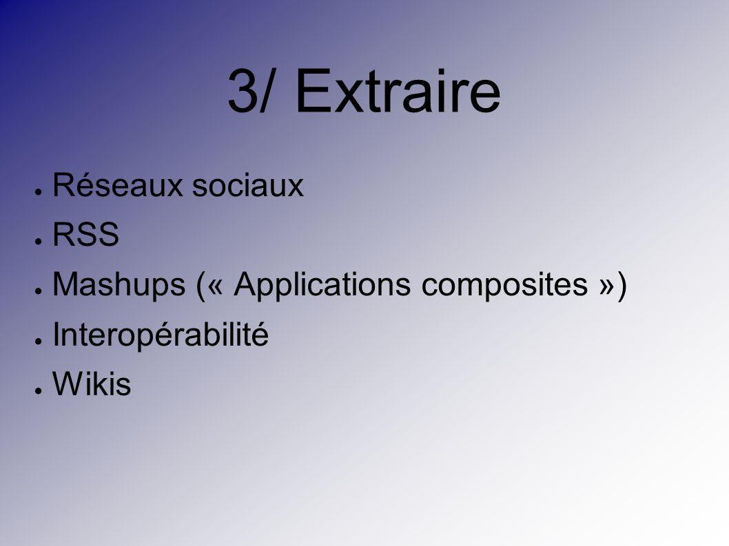 3/ Extraire Réseaux sociaux RSS Mashups (« Applications composites ») Interopérabilité Wikis