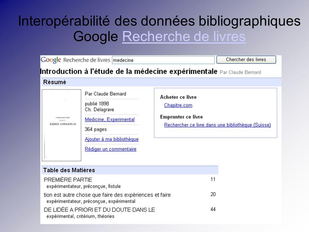 Interopérabilité des données bibliographiques Google Recherche de livresRecherche de livres