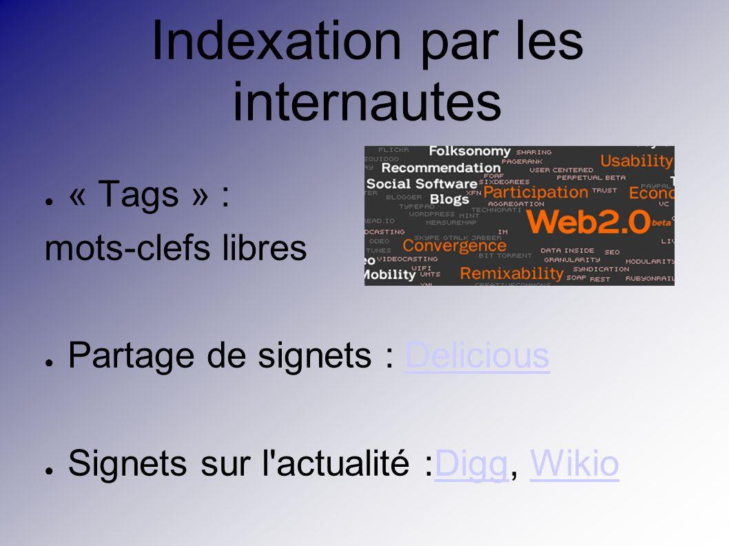 Indexation par les internautes « Tags » : mots-clefs libres Partage de signets : DeliciousDelicious Signets sur l actualité :Digg, WikioDiggWikio
