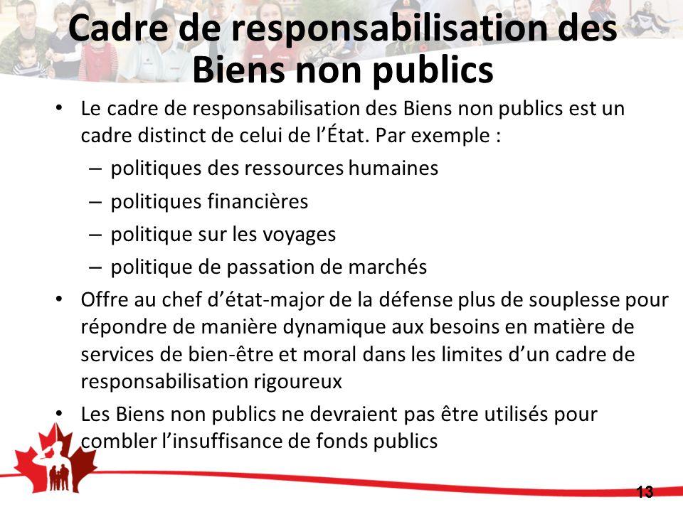 Le cadre de responsabilisation des Biens non publics est un cadre distinct de celui de lÉtat. Par exemple : – politiques des ressources humaines – pol